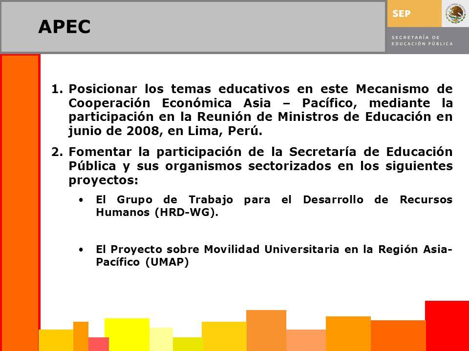 APEC 1.Posicionar los temas educativos en este Mecanismo de Cooperación Económica Asia – Pacífico, mediante la participación en la Reunión de Ministros de Educación en junio de 2008, en Lima, Perú.