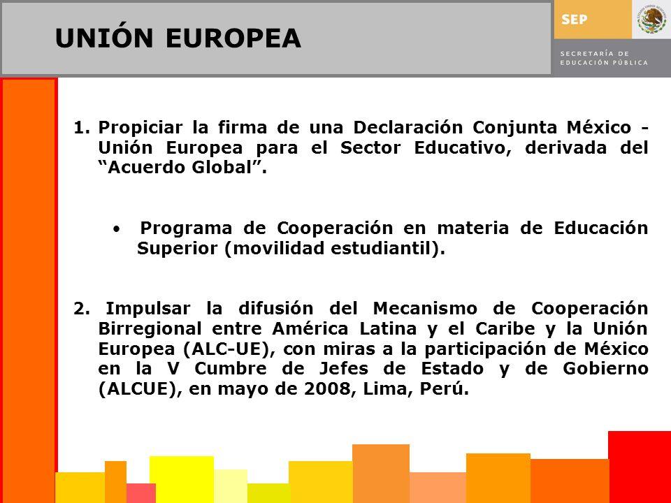 UNIÓN EUROPEA 1.Propiciar la firma de una Declaración Conjunta México - Unión Europea para el Sector Educativo, derivada del Acuerdo Global.