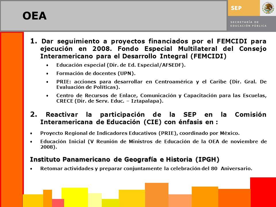 OEA 1. Dar seguimiento a proyectos financiados por el FEMCIDI para ejecución en 2008. Fondo Especial Multilateral del Consejo Interamericano para el D