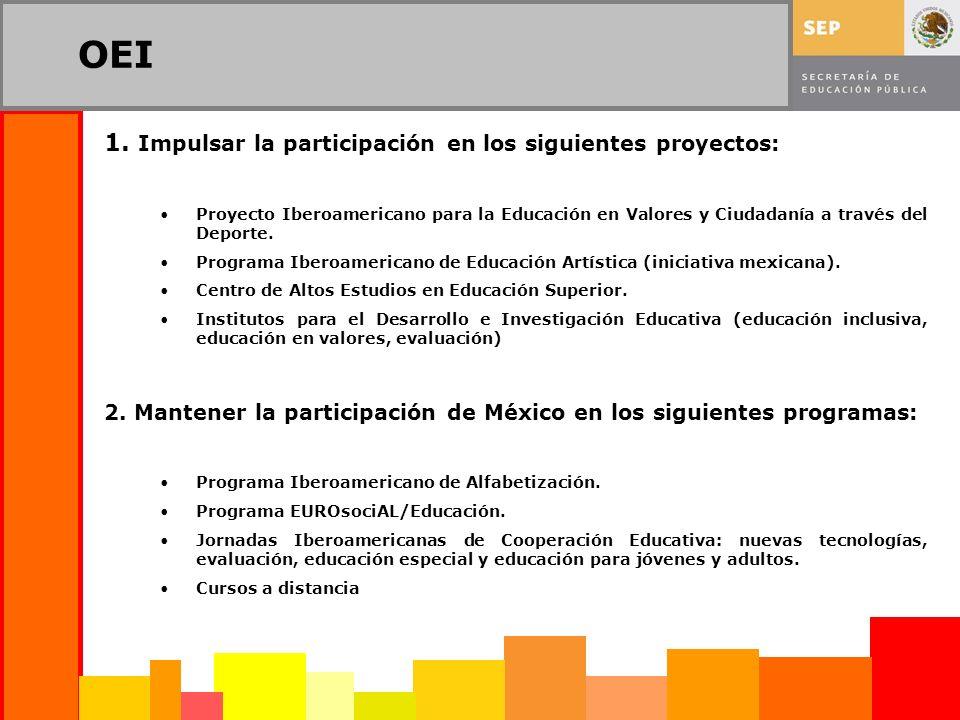 OEI 1. Impulsar la participación en los siguientes proyectos: Proyecto Iberoamericano para la Educación en Valores y Ciudadanía a través del Deporte.