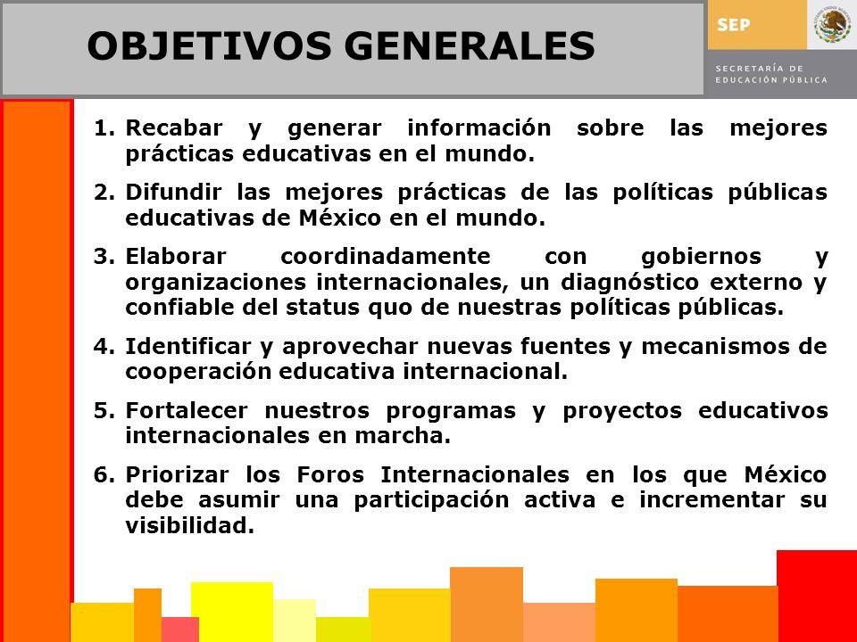 OBJETIVOS GENERALES 1.Recabar y generar información sobre las mejores prácticas educativas en el mundo.