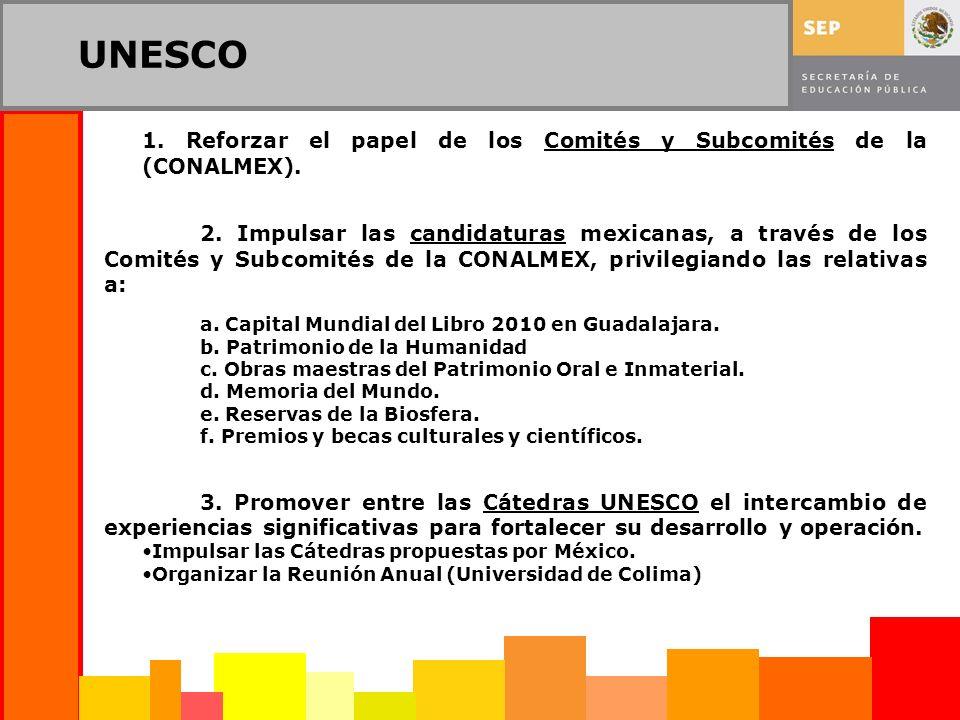 UNESCO 1. Reforzar el papel de los Comités y Subcomités de la (CONALMEX). 2. Impulsar las candidaturas mexicanas, a través de los Comités y Subcomités