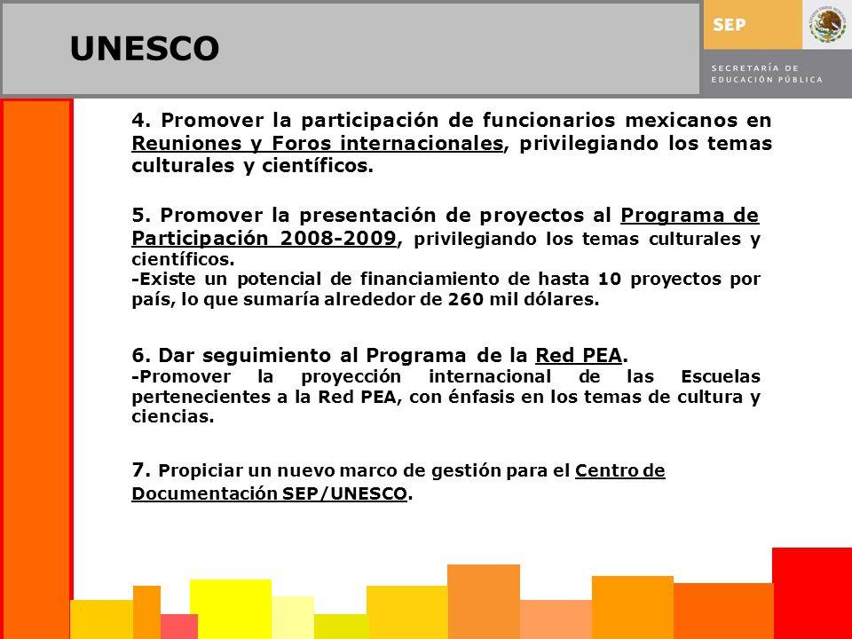 UNESCO 6. Dar seguimiento al Programa de la Red PEA. -Promover la proyección internacional de las Escuelas pertenecientes a la Red PEA, con énfasis en