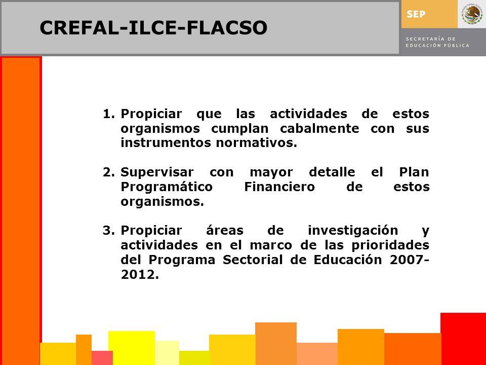 CREFAL-ILCE-FLACSO 1.Propiciar que las actividades de estos organismos cumplan cabalmente con sus instrumentos normativos. 2.Supervisar con mayor deta