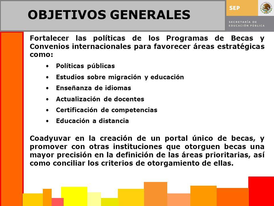 OBJETIVOS GENERALES Fortalecer las políticas de los Programas de Becas y Convenios internacionales para favorecer áreas estratégicas como: Políticas p