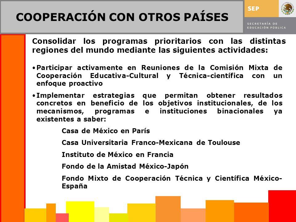 COOPERACIÓN CON OTROS PAÍSES Consolidar los programas prioritarios con las distintas regiones del mundo mediante las siguientes actividades: Participa