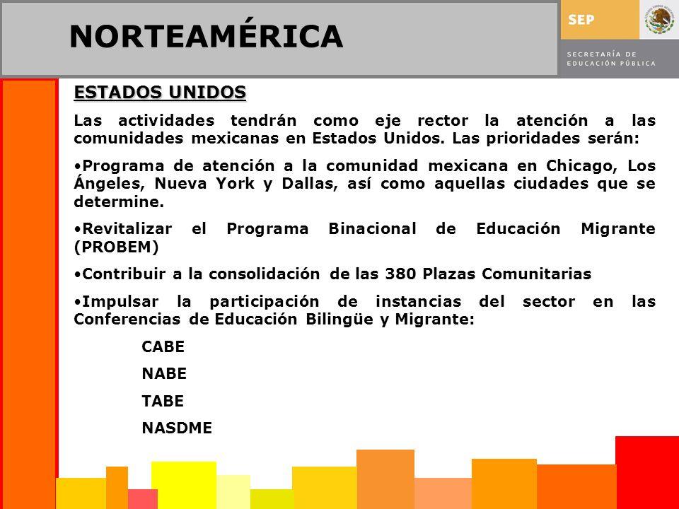 NORTEAMÉRICA ESTADOS UNIDOS Las actividades tendrán como eje rector la atención a las comunidades mexicanas en Estados Unidos. Las prioridades serán: