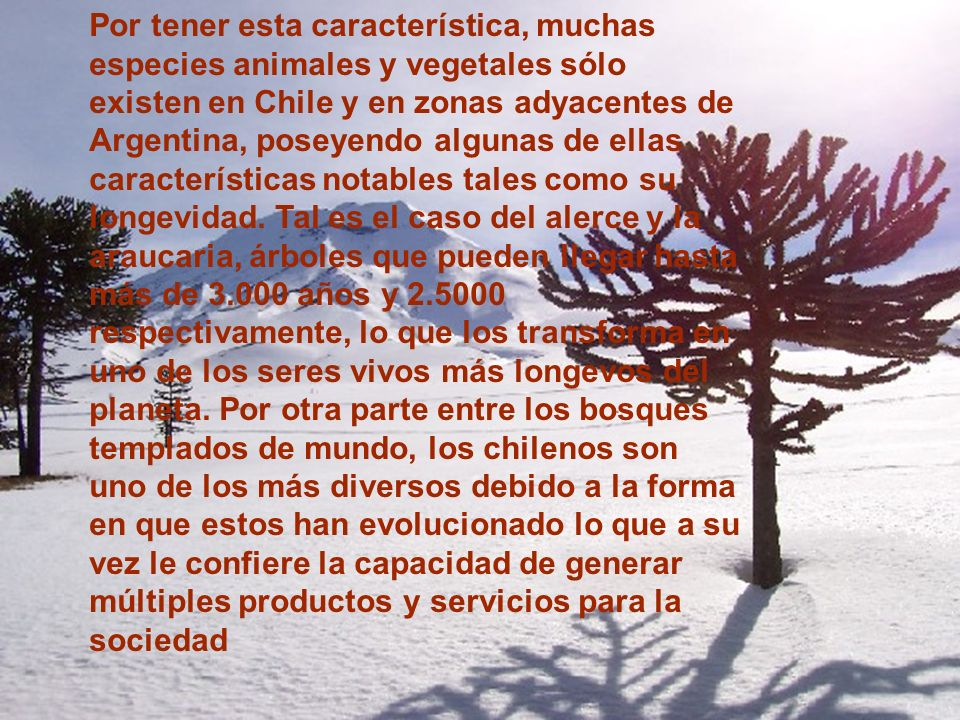 Por tener esta característica, muchas especies animales y vegetales sólo existen en Chile y en zonas adyacentes de Argentina, poseyendo algunas de ell