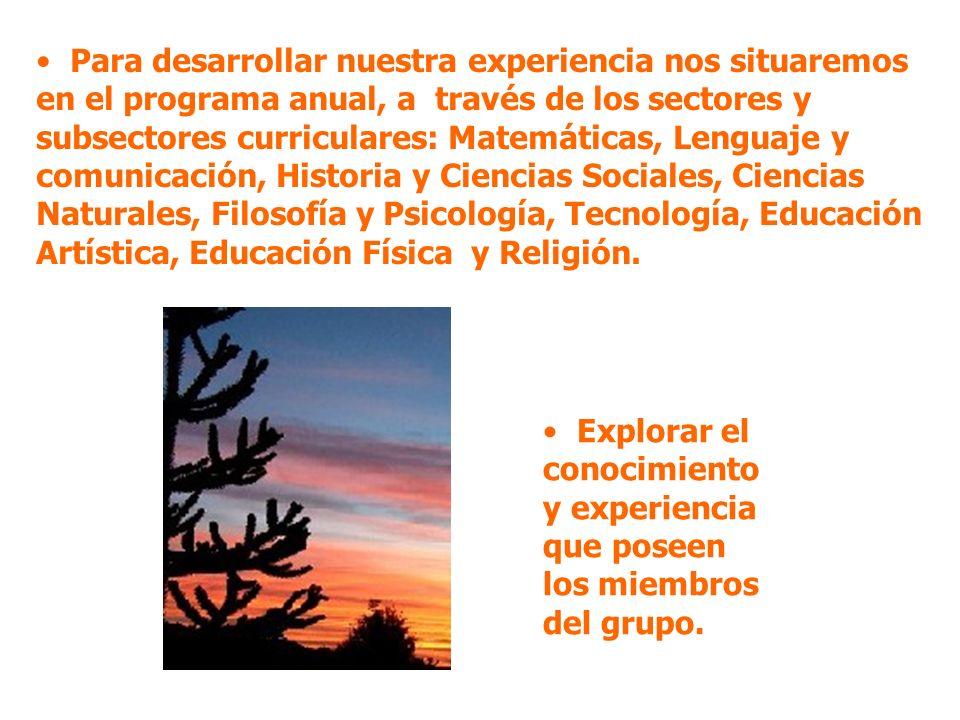Para desarrollar nuestra experiencia nos situaremos en el programa anual, a través de los sectores y subsectores curriculares: Matemáticas, Lenguaje y