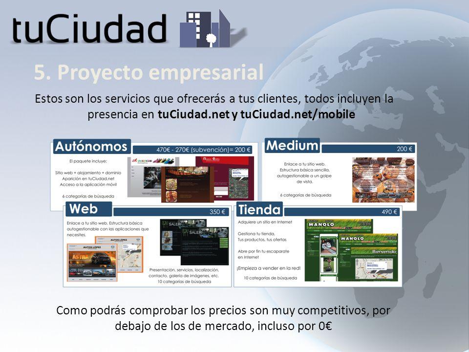 5. Proyecto empresarial Estos son los servicios que ofrecerás a tus clientes, todos incluyen la presencia en tuCiudad.net y tuCiudad.net/mobile Como p