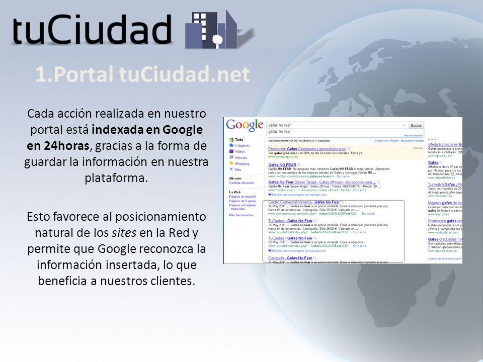 1.Portal tuCiudad.net Cuenta con un gestor de ofertas que permite publicar de forma diaria una oferta destacada y planificar una campaña bimensual.