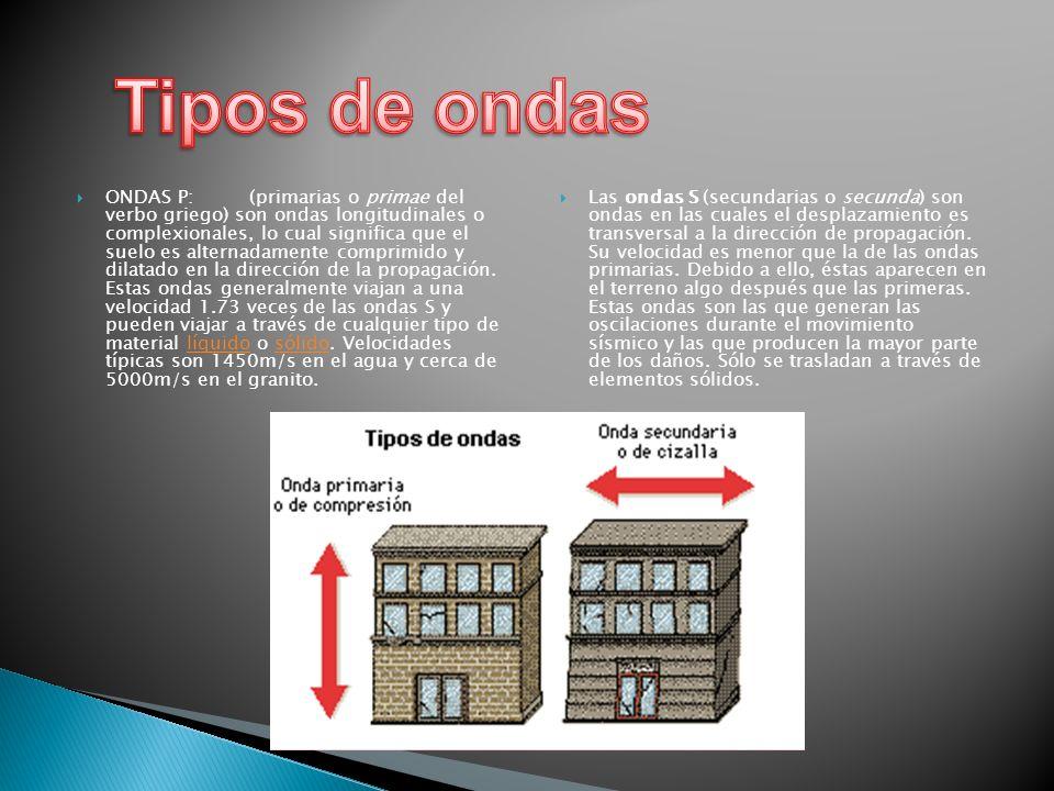 ONDAS P: (primarias o primae del verbo griego) son ondas longitudinales o complexionales, lo cual significa que el suelo es alternadamente comprimido