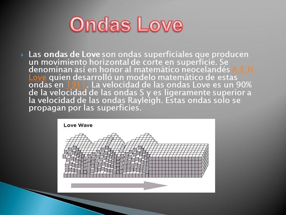 Las ondas de Love son ondas superficiales que producen un movimiento horizontal de corte en superficie. Se denominan así en honor al matemático neocel
