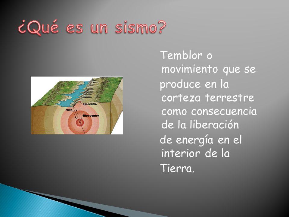 Temblor o movimiento que se produce en la corteza terrestre como consecuencia de la liberación de energía en el interior de la Tierra.