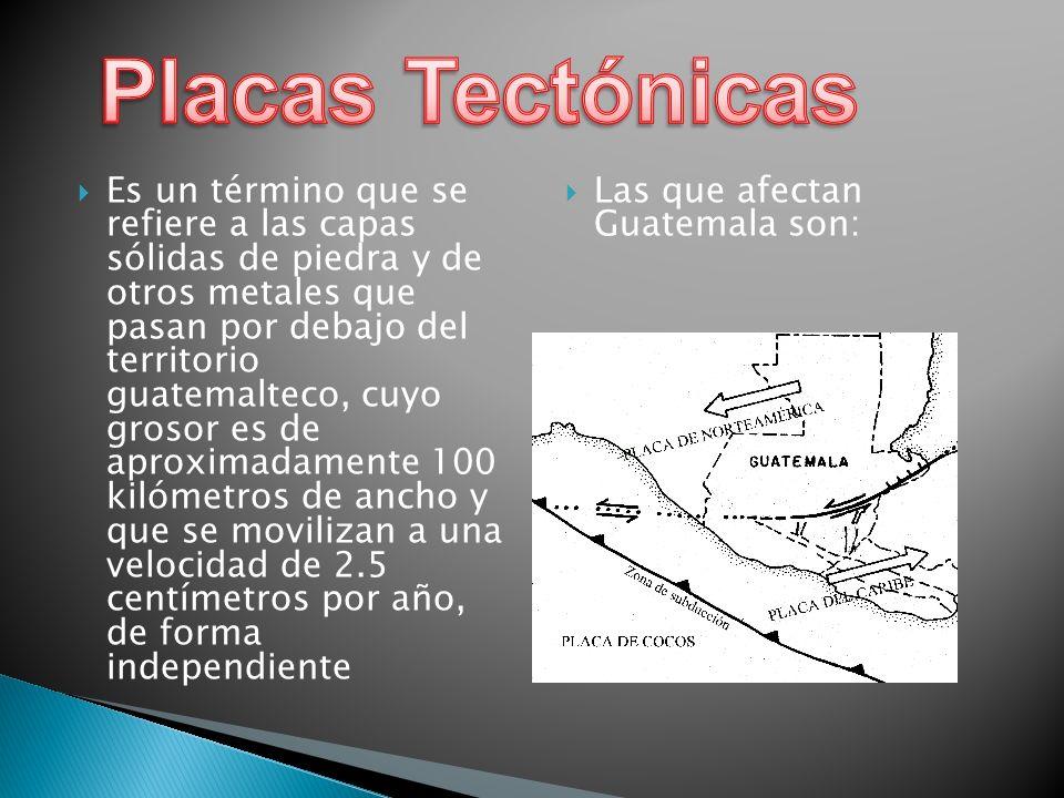 Es un término que se refiere a las capas sólidas de piedra y de otros metales que pasan por debajo del territorio guatemalteco, cuyo grosor es de apro