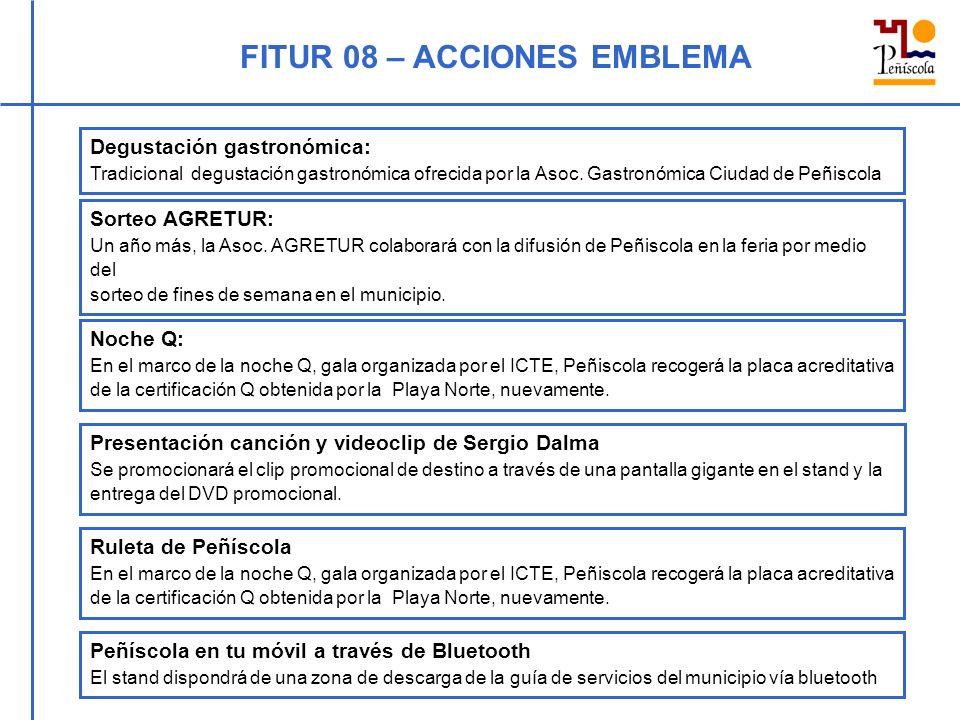 FITUR 08 – ACCIONES EMBLEMA Degustación gastronómica: Tradicional degustación gastronómica ofrecida por la Asoc. Gastronómica Ciudad de Peñiscola Sort