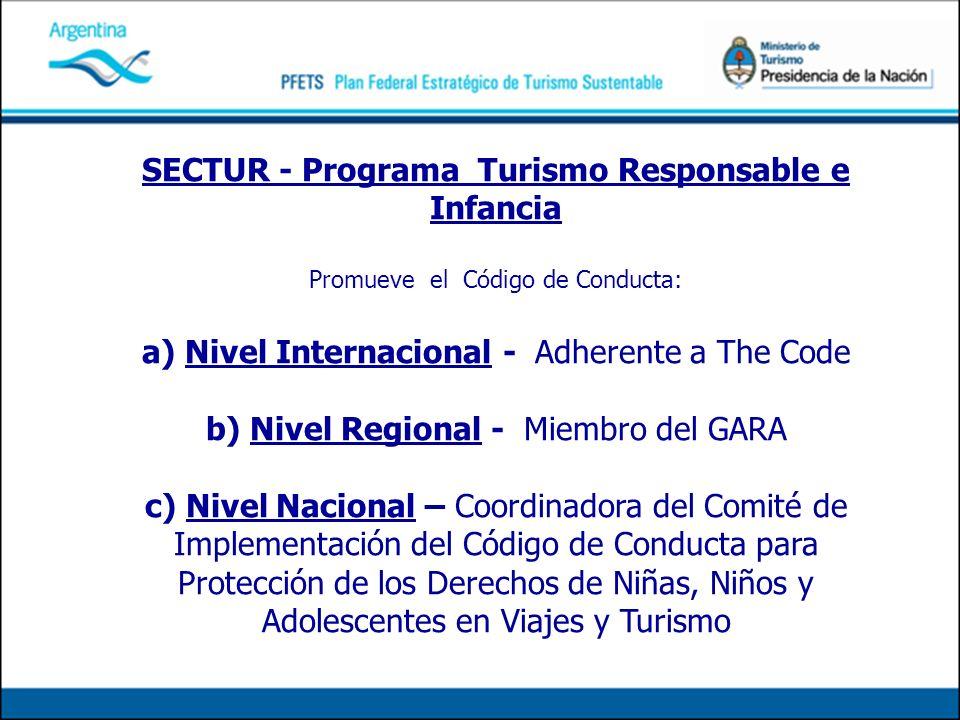 SECTUR - Programa Turismo Responsable e Infancia Promueve el Código de Conducta: a) Nivel Internacional - Adherente a The Code b) Nivel Regional - Mie