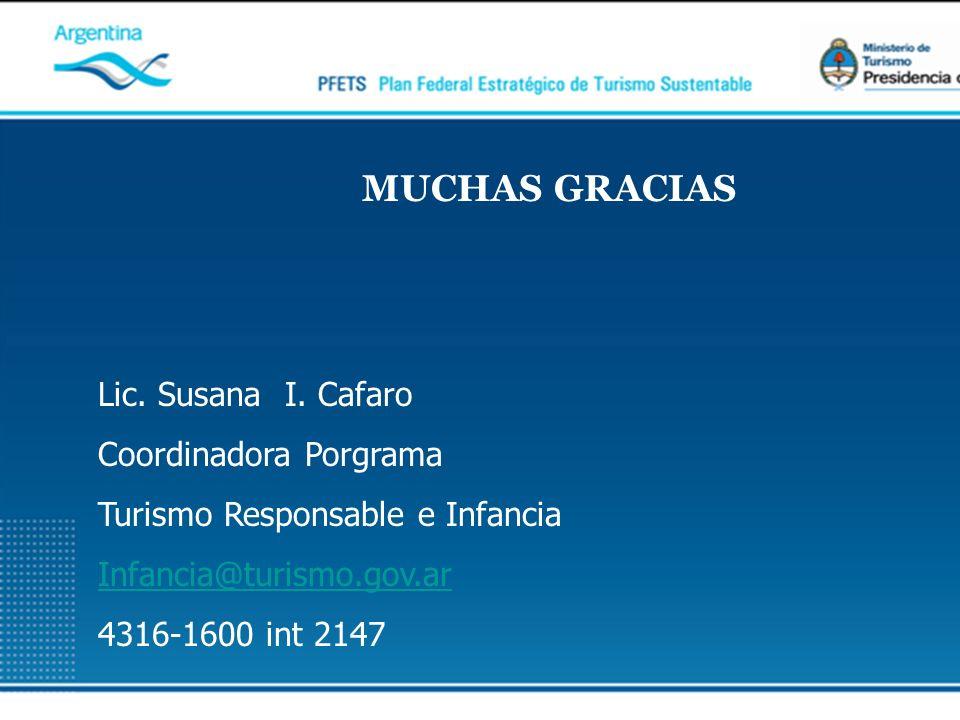 Lic. Susana I. Cafaro Coordinadora Porgrama Turismo Responsable e Infancia Infancia@turismo.gov.ar 4316-1600 int 2147 MUCHAS GRACIAS
