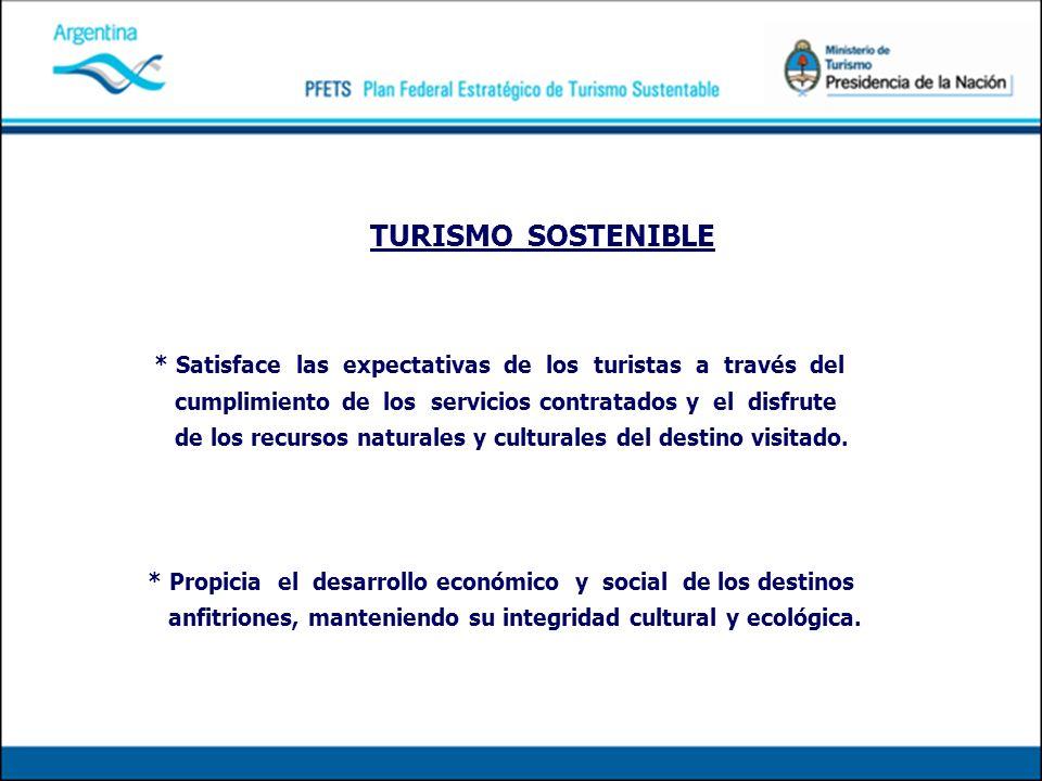 TURISMO SOSTENIBLE * Satisface las expectativas de los turistas a través del cumplimiento de los servicios contratados y el disfrute de los recursos naturales y culturales del destino visitado.