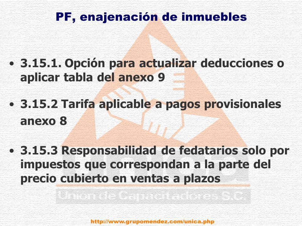 PF, enajenación de inmuebles 3.15.1.