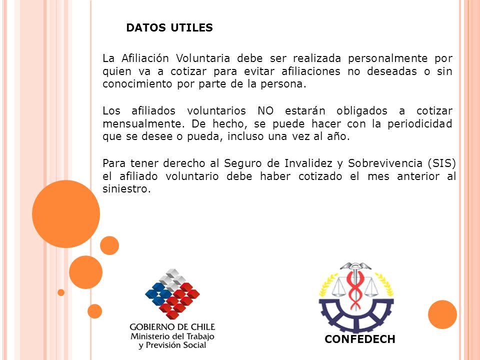 DATOS UTILES La Afiliación Voluntaria debe ser realizada personalmente por quien va a cotizar para evitar afiliaciones no deseadas o sin conocimiento por parte de la persona.