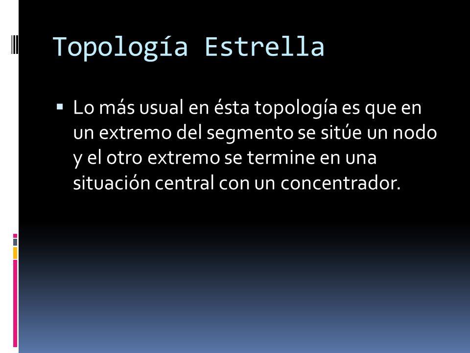 Topología Estrella Lo más usual en ésta topología es que en un extremo del segmento se sitúe un nodo y el otro extremo se termine en una situación central con un concentrador.