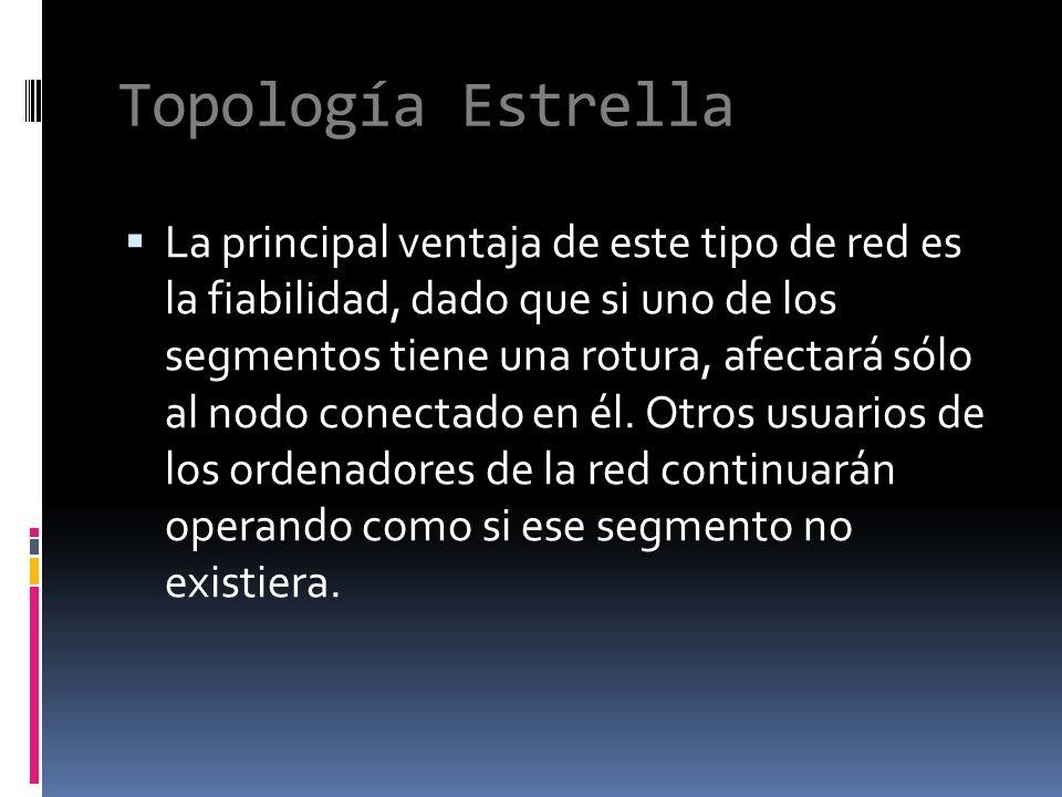 Topología Estrella La principal ventaja de este tipo de red es la fiabilidad, dado que si uno de los segmentos tiene una rotura, afectará sólo al nodo conectado en él.