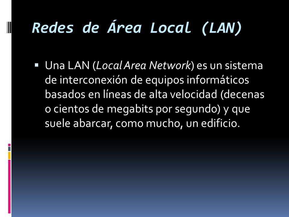 Redes de Área Local (LAN) Una LAN (Local Area Network) es un sistema de interconexión de equipos informáticos basados en líneas de alta velocidad (decenas o cientos de megabits por segundo) y que suele abarcar, como mucho, un edificio.