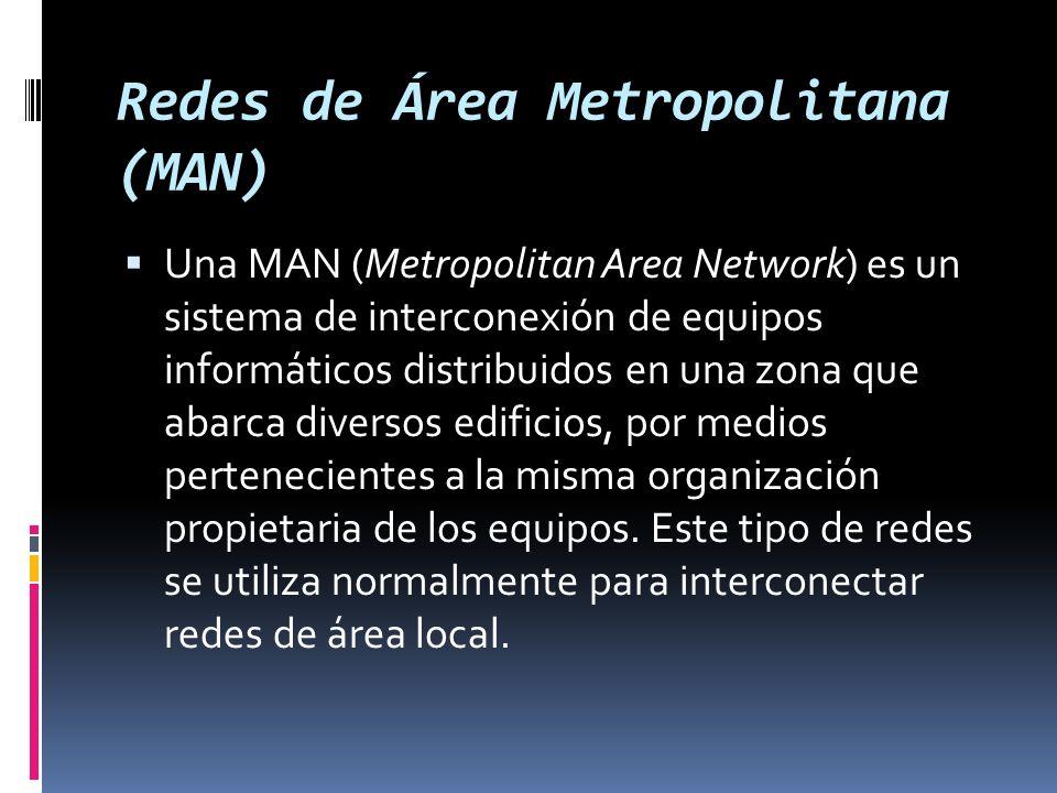 Redes de Área Metropolitana (MAN) Una MAN (Metropolitan Area Network) es un sistema de interconexión de equipos informáticos distribuidos en una zona que abarca diversos edificios, por medios pertenecientes a la misma organización propietaria de los equipos.