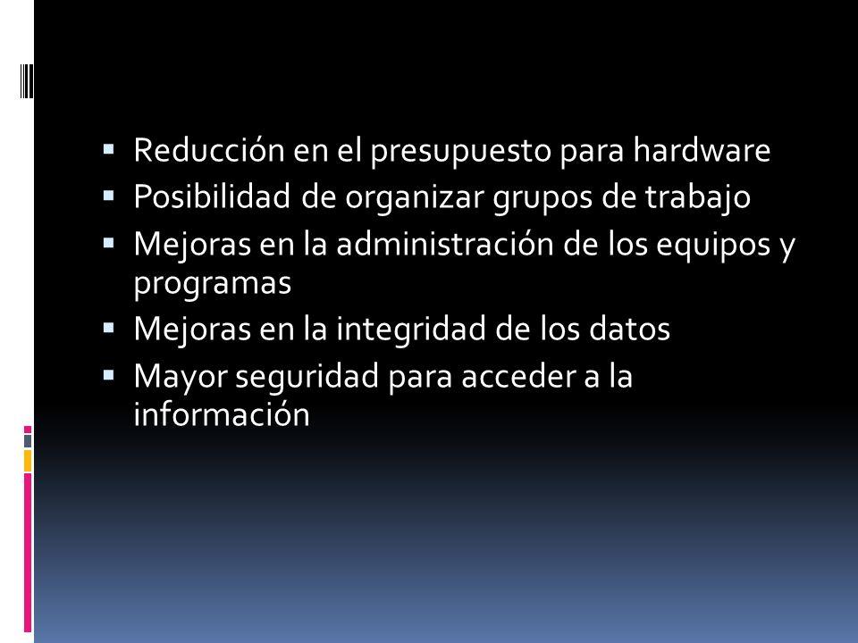 Reducción en el presupuesto para hardware Posibilidad de organizar grupos de trabajo Mejoras en la administración de los equipos y programas Mejoras en la integridad de los datos Mayor seguridad para acceder a la información