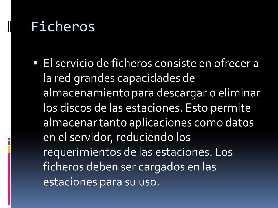 Ficheros El servicio de ficheros consiste en ofrecer a la red grandes capacidades de almacenamiento para descargar o eliminar los discos de las estaciones.