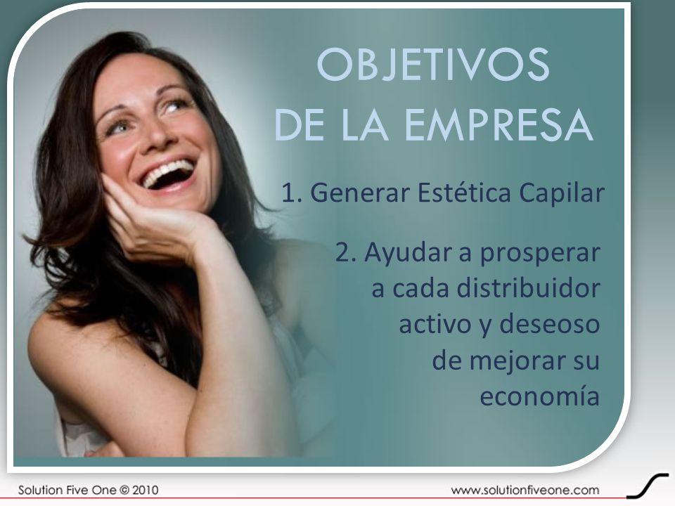 OBJETIVOS DE LA EMPRESA 1. Generar Estética Capilar 2. Ayudar a prosperar a cada distribuidor activo y deseoso de mejorar su economía
