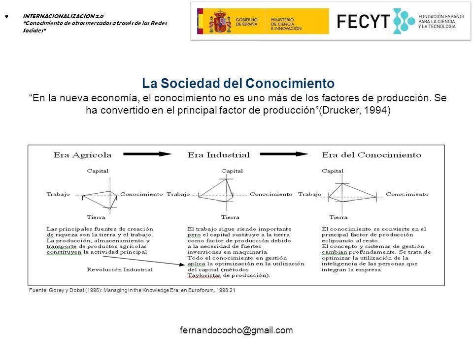 fernandococho@gmail.com La Sociedad del Conocimiento En la nueva economía, el conocimiento no es uno más de los factores de producción.