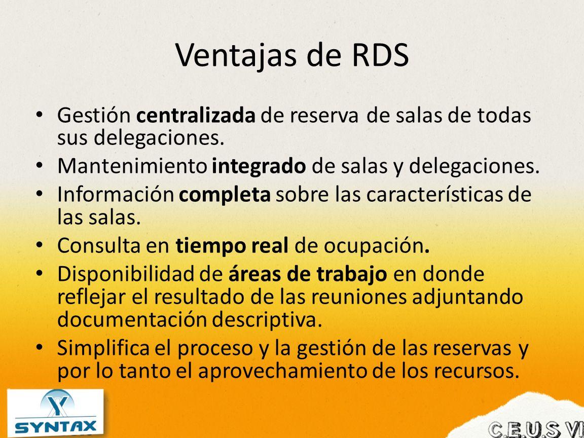 Ventajas de RDS Gestión centralizada de reserva de salas de todas sus delegaciones. Mantenimiento integrado de salas y delegaciones. Información compl