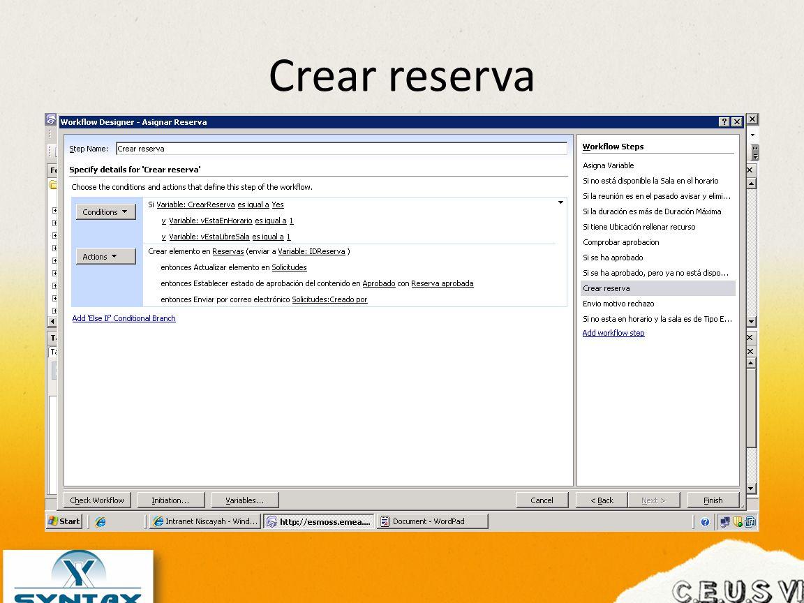 Crear reserva