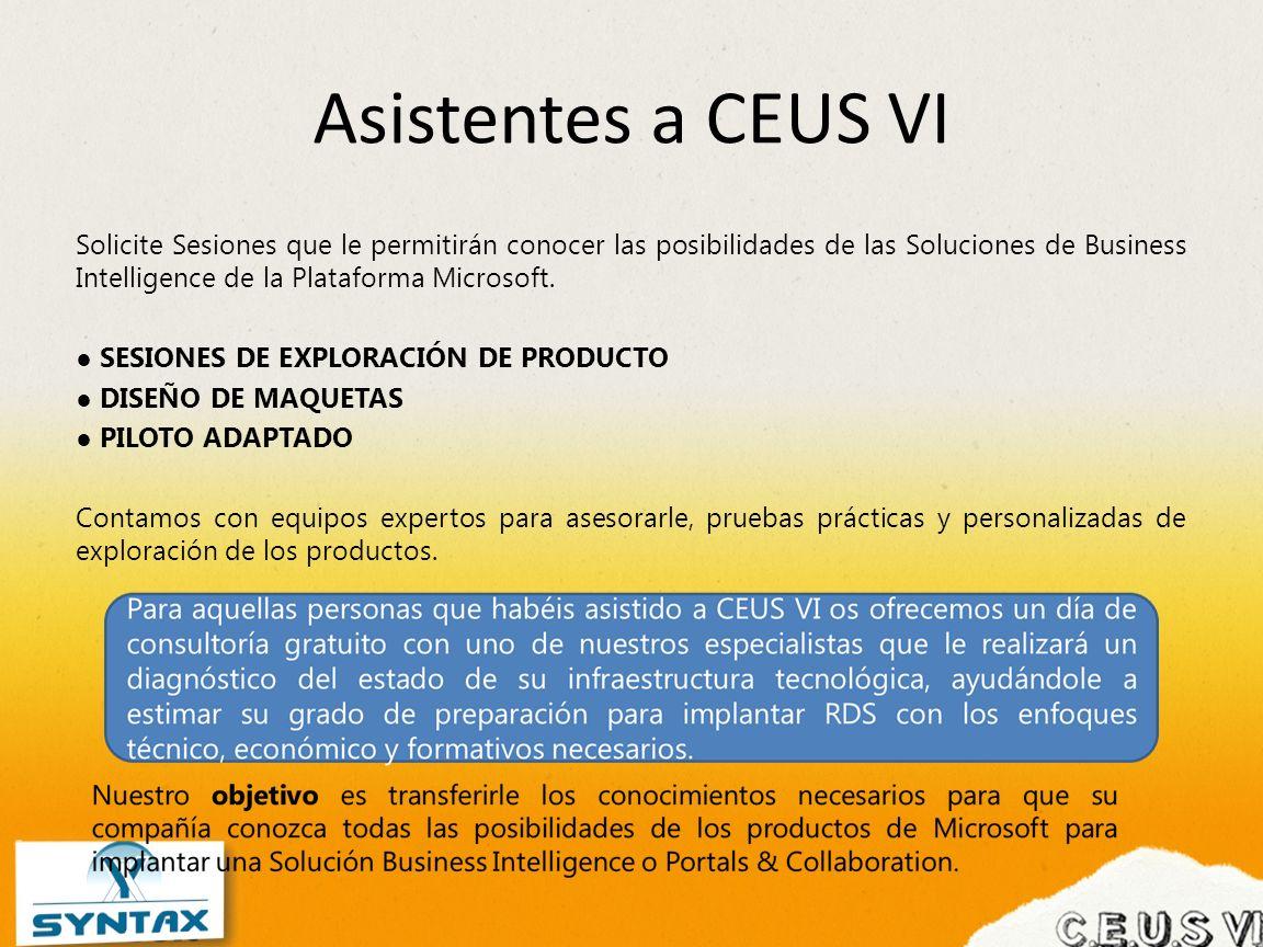 Asistentes a CEUS VI Solicite Sesiones que le permitirán conocer las posibilidades de las Soluciones de Business Intelligence de la Plataforma Microso