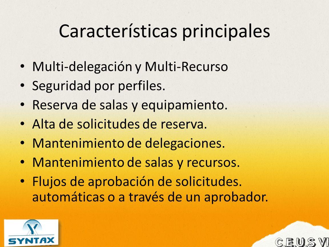 Características principales Multi-delegación y Multi-Recurso Seguridad por perfiles. Reserva de salas y equipamiento. Alta de solicitudes de reserva.
