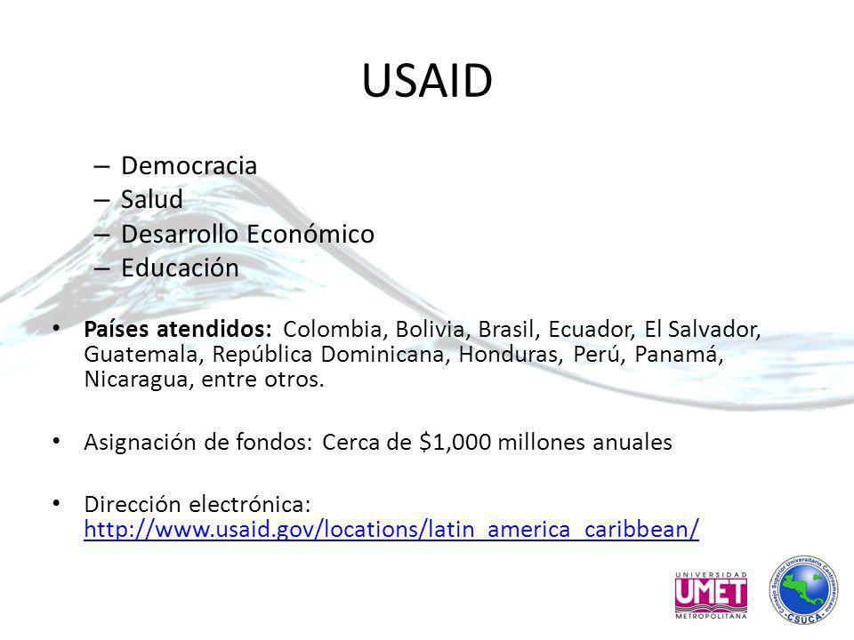 USAID – Democracia – Salud – Desarrollo Económico – Educación Países atendidos: Colombia, Bolivia, Brasil, Ecuador, El Salvador, Guatemala, República Dominicana, Honduras, Perú, Panamá, Nicaragua, entre otros.