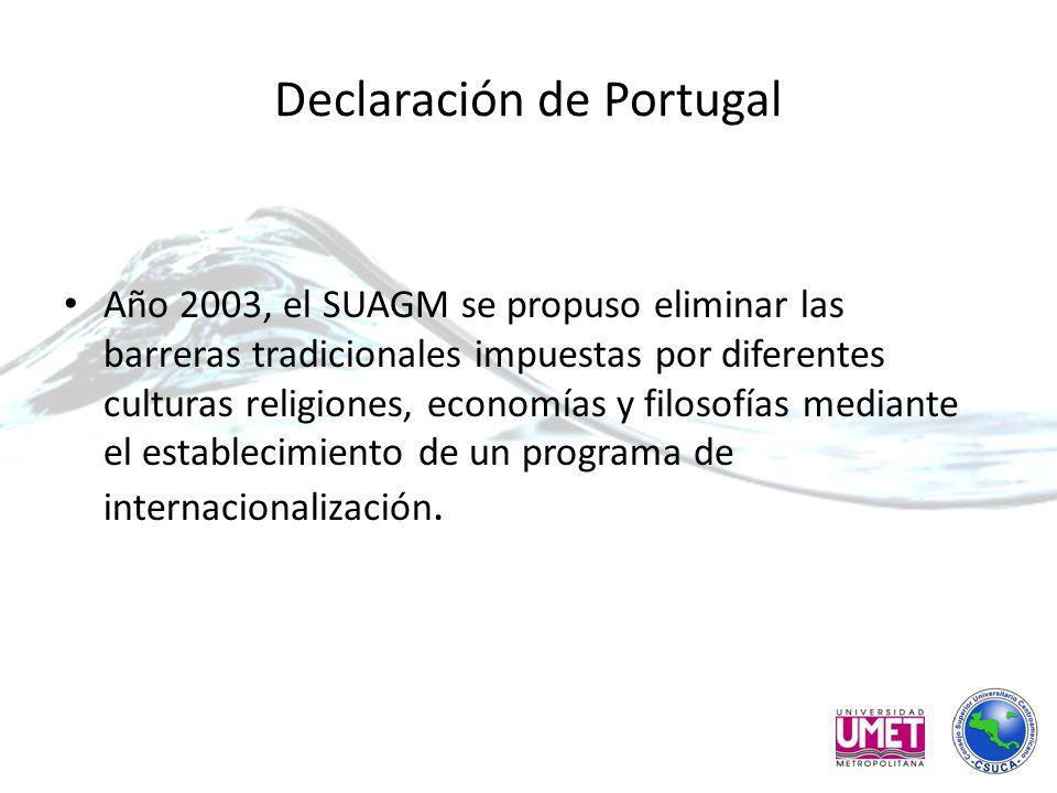 Declaración de Portugal Año 2003, el SUAGM se propuso eliminar las barreras tradicionales impuestas por diferentes culturas religiones, economías y filosofías mediante el establecimiento de un programa de internacionalización.