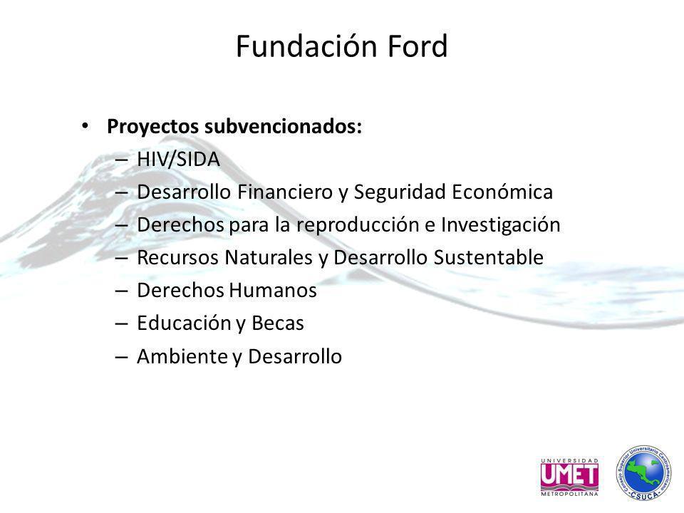 Fundación Ford Proyectos subvencionados: – HIV/SIDA – Desarrollo Financiero y Seguridad Económica – Derechos para la reproducción e Investigación – Recursos Naturales y Desarrollo Sustentable – Derechos Humanos – Educación y Becas – Ambiente y Desarrollo