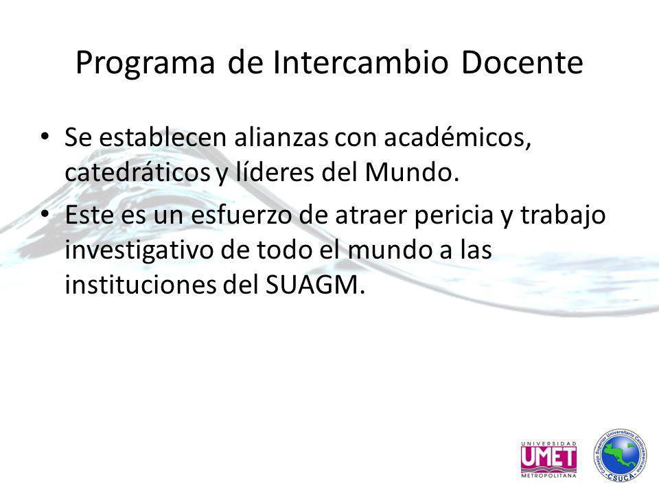 Programa de Intercambio Docente Se establecen alianzas con académicos, catedráticos y líderes del Mundo.