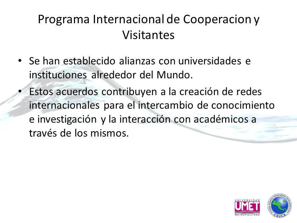 Programa Internacional de Cooperacion y Visitantes Se han establecido alianzas con universidades e instituciones alrededor del Mundo.