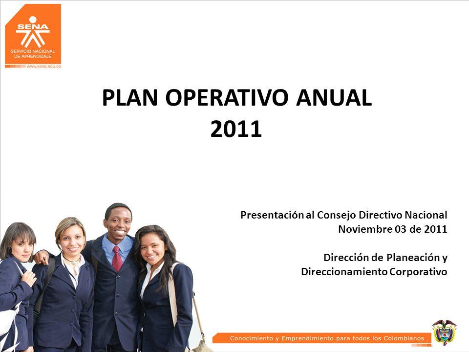 PLAN OPERATIVO ANUAL 2011 Presentación al Consejo Directivo Nacional Noviembre 03 de 2011 Dirección de Planeación y Direccionamiento Corporativo 1