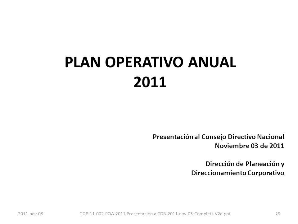 PLAN OPERATIVO ANUAL 2011 Presentación al Consejo Directivo Nacional Noviembre 03 de 2011 Dirección de Planeación y Direccionamiento Corporativo 292011-nov-03GGP-11-002 POA-2011 Presentacion a CDN 2011-nov-03 Completa V2a.ppt
