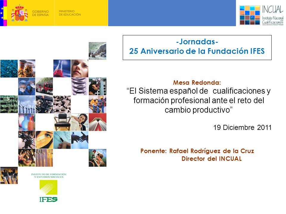 -Jornadas- 25 Aniversario de la Fundación IFES Mesa Redonda: Ponente: Rafael Rodríguez de la Cruz Director del INCUAL El Sistema español de cualificaciones y formación profesional ante el reto del cambio productivo 19 Diciembre 2011