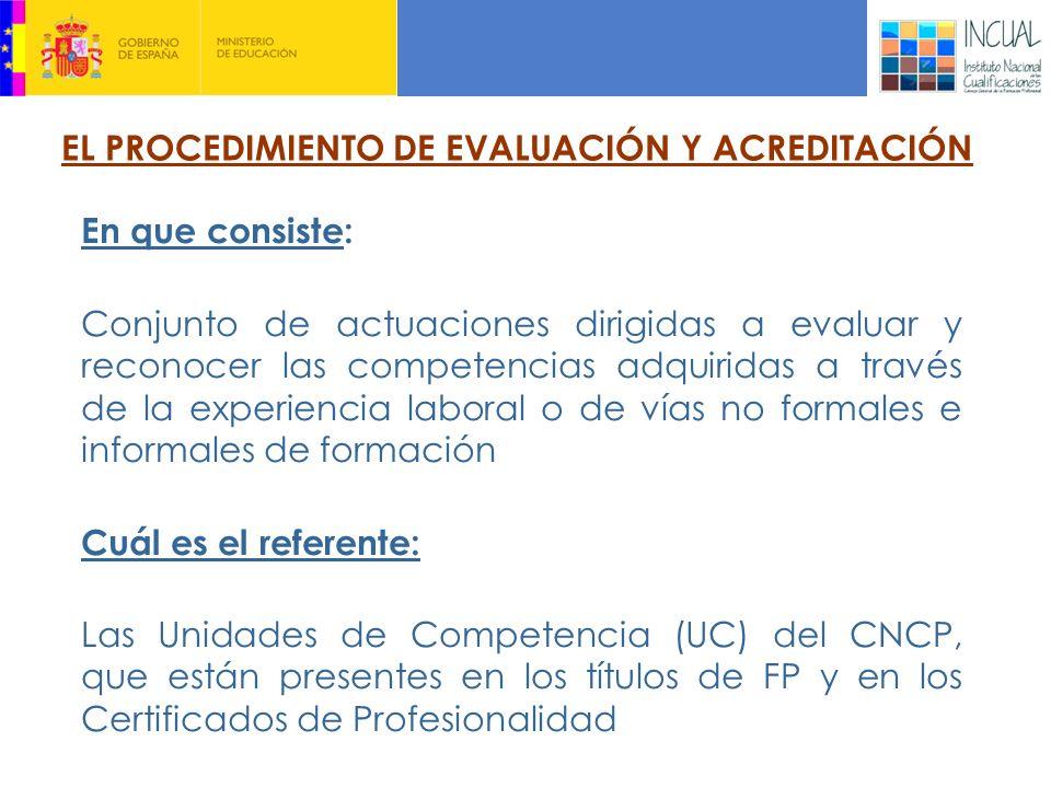 EL PROCEDIMIENTO DE EVALUACIÓN Y ACREDITACIÓN En que consiste: Conjunto de actuaciones dirigidas a evaluar y reconocer las competencias adquiridas a través de la experiencia laboral o de vías no formales e informales de formación Cuál es el referente: Las Unidades de Competencia (UC) del CNCP, que están presentes en los títulos de FP y en los Certificados de Profesionalidad