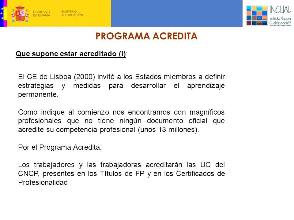 PROGRAMA ACREDITA Que supone estar acreditado (I): El CE de Lisboa (2000) invitó a los Estados miembros a definir estrategias y medidas para desarrollar el aprendizaje permanente.
