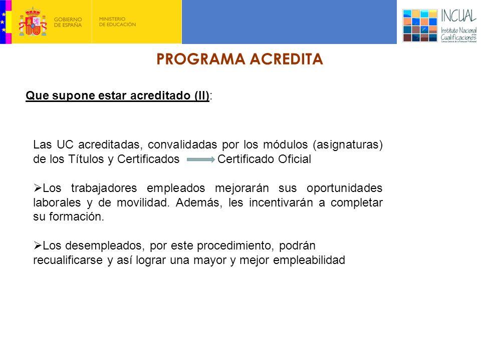 PROGRAMA ACREDITA Que supone estar acreditado (II): Las UC acreditadas, convalidadas por los módulos (asignaturas) de los Títulos y Certificados Certificado Oficial Los trabajadores empleados mejorarán sus oportunidades laborales y de movilidad.