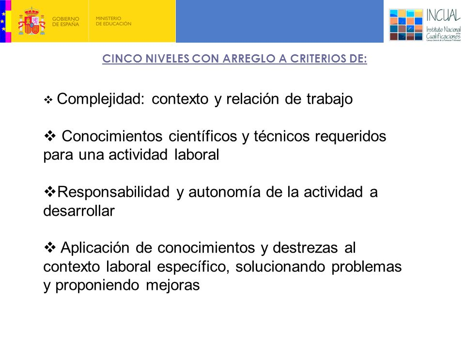 CINCO NIVELES CON ARREGLO A CRITERIOS DE: 3.