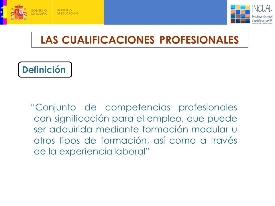 LAS CUALIFICACIONES PROFESIONALES Definición Conjunto de competencias profesionales con significación para el empleo, que puede ser adquirida mediante formación modular u otros tipos de formación, así como a través de la experiencia laboral